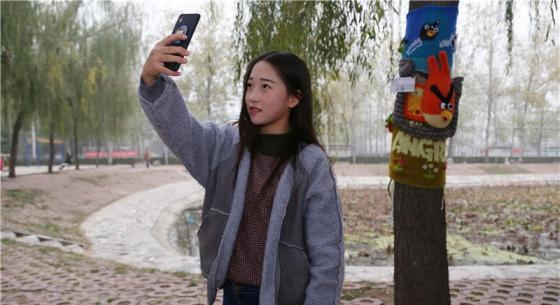 女大学生为树木手织新毛衣 男网友:活得还不如一棵树