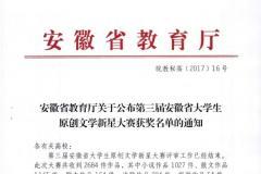 皖南医学院在第三届安徽省大学生原创文学新星大赛中取得佳绩